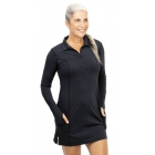 BloqUV Women's Sun Protective Long Sleeve Tunic Dress (Black) - BloqUV Sun Protective Tennis Apparel