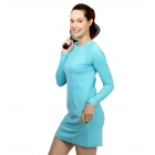 BloqUV Women's Sun Protective Long Sleeve Tunic Dress (Light Tourquoise) - BloqUV Sun Protective Tennis Apparel