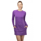BloqUV Women's Sun Protective Long Sleeve Tunic Dress (Purple) - BloqUV Sun Protective Tennis Apparel