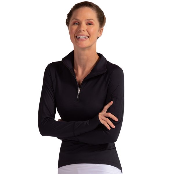 BloqUV Women's Sun Protective Mock Zip Long Sleeve Athletic Top (Black)