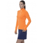 Bloq-UV Mock Zip Long Sleeve Top (Orange) - Discount Tennis Apparel