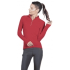 Bloq-UV Mock Zip Long Sleeve Top (Red) - Women's Tennis Apparel