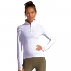 BloqUV Women's Sun Protective Mock Zip Long Sleeve Athletic Top (White) -