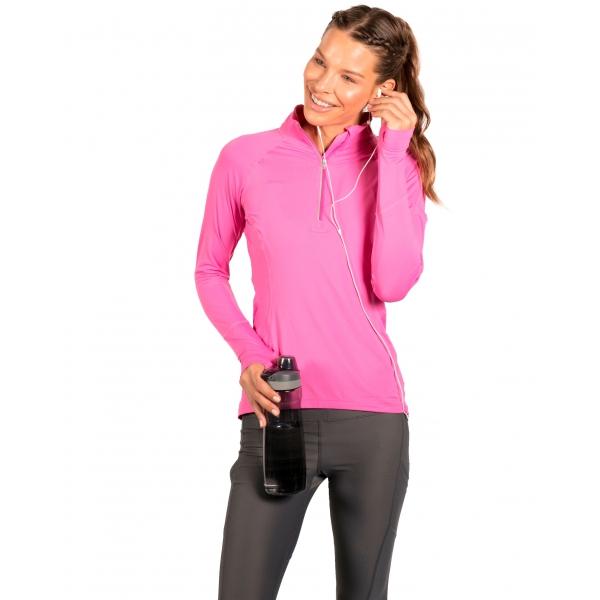 Bloq-UV Mock Zip Long Sleeve Top (Bubble Gum)