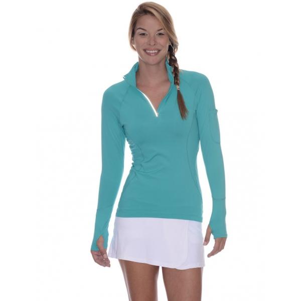 Bloq-UV Mock Zip Long Sleeve Top (Caribbean Blue)
