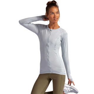 BloqUV Women's Sun Protective Full Zip Long Sleeve Athletic Top (Soft Gray)