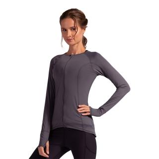 BloqUV Women's Sun Protective Full Zip Long Sleeve Athletic Top (Smoke)