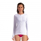 BloqUV Women's Sun Protective Full Zip Long Sleeve Athletic Top (White) - Women's Warm-Ups