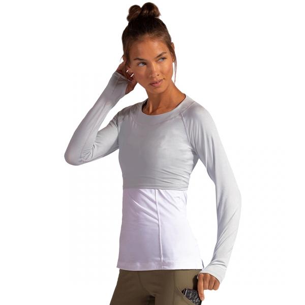 BloqUV Women's Long Sleeve Tennis Crop Top (Soft Gray)