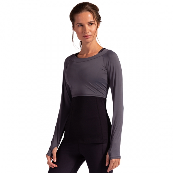BloqUV Women's Long Sleeve Tennis Crop Top (Smoke)