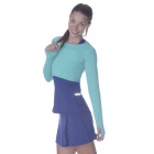 Bloq-UV Long Sleeve Tennis Crop Top (Caribbean Blue) - BloqUV Women's Long Sleeve Sun Protective Crop Tops