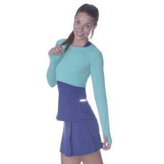Bloq-UV Long Sleeve Tennis Crop Top (Caribbean Blue)