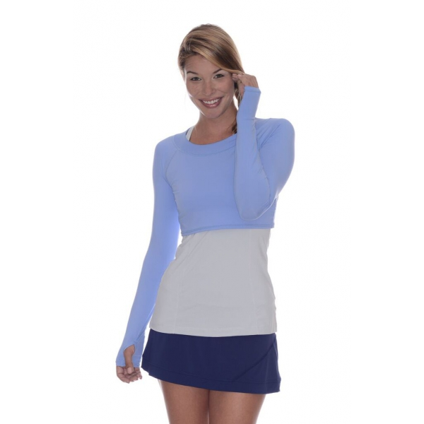 Bloq-UV Long Sleeve Tennis Crop Top (Indigo)