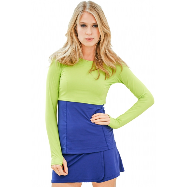 Bloq-UV Long Sleeve Tennis Crop Top (Key Lime)