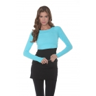 Bloq-UV Long Sleeve Tennis Crop Top (Light Turquoise) - BloqUV Women's Long Sleeve Sun Protective Crop Tops