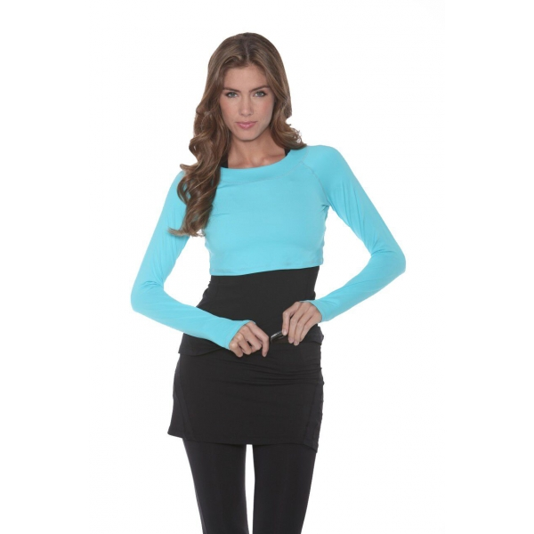 Bloq-UV Long Sleeve Tennis Crop Top (Light Turquoise)