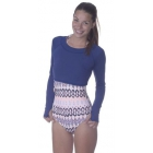 Bloq-UV Long Sleeve Tennis Crop Top (Navy) - Women's Warm-Ups