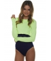 Bloq-UV Long Sleeve Tennis Crop Top (Neon Yellow) - Women's Outerwear