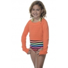 Bloq-UV Long Sleeve Tennis Crop Top (Orange) - Women's Warm-Ups