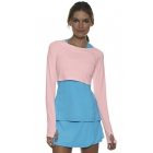 Bloq-UV Long Sleeve Tennis Crop Top (Tickle Me Pink) - Women's Warm-Ups