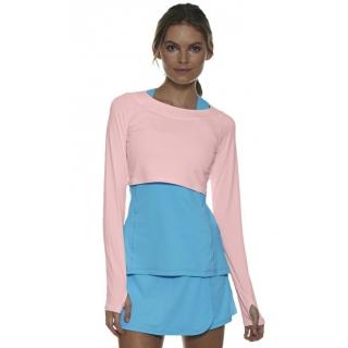 Bloq-UV Long Sleeve Tennis Crop Top (Tickle Me Pink)