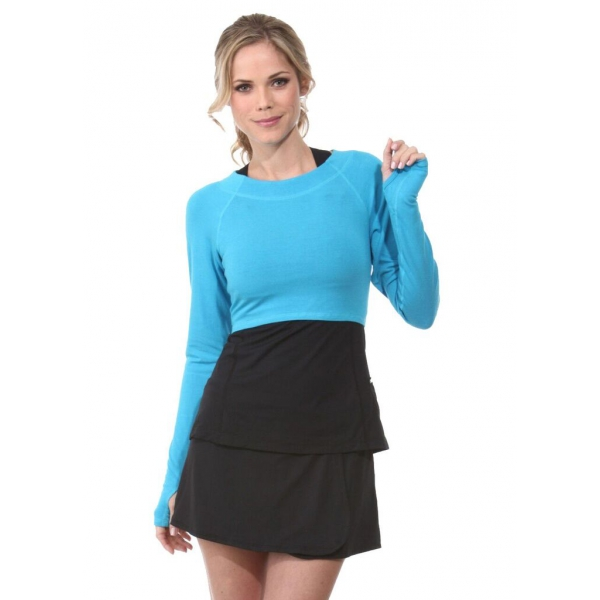 Bloq-UV Long Sleeve Tennis Crop Top (Turquoise)