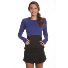 Bloq-UV Long Sleeve Tennis Crop Top (Twilight Blue) - Women's Warm-Ups