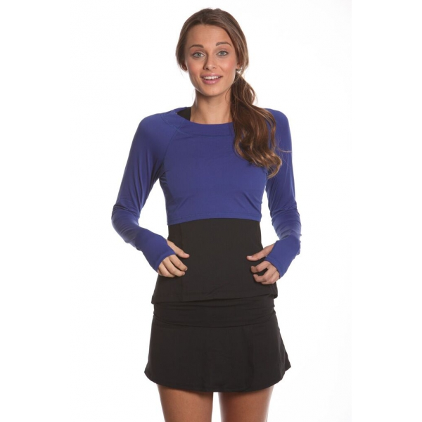 Bloq-UV Long Sleeve Tennis Crop Top (Twilight Blue)
