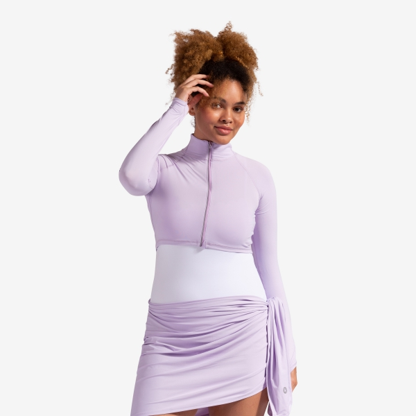BloqUV Women's Long Sleeve Full Zip Sun Protective Athletic Crop Top (Lavender)