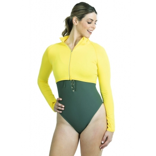 BloqUV Women's Long Sleeve Full Zip Sun Protective Athletic Crop Top (Mellow Yellow)