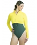 BloqUV Women's Long Sleeve Full Zip Sun Protective Athletic Crop Top (Mellow Yellow) - Women's Warm-Ups