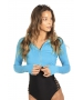 BloqUV Women's Long Sleeve Full Zip Sun Protective Athletic Crop Top (Ocean Blue) - Women's Warm-Ups