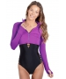 BloqUV Women's Long Sleeve Full Zip Sun Protective Athletic Crop Top (Purple) - Women's Warm-Ups