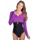 BloqUV Women's Long Sleeve Full Zip Sun Protective Athletic Crop Top (Purple) - Women's Long-Sleeve Shirts