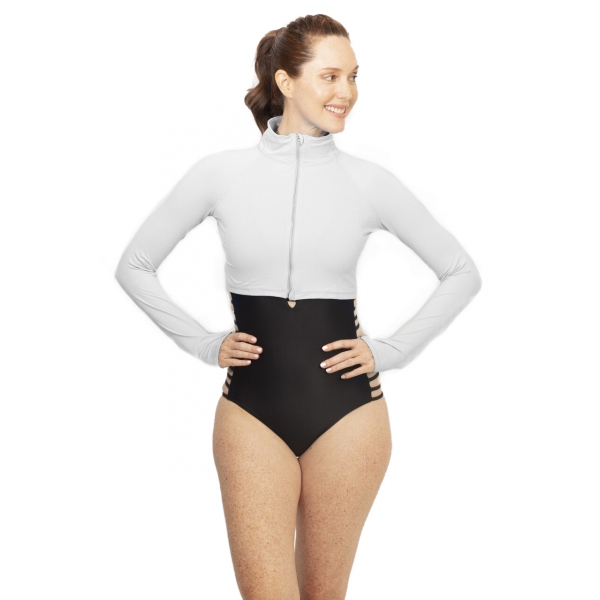 BloqUV Women's Long Sleeve Full Zip Sun Protective Athletic Crop Top (Soft Gray)