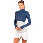 Bloq-UV Long Sleeve Full Zip Crop Top (Navy) - Women's Warm-Ups