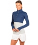 Bloq-UV Long Sleeve Full Zip Crop Top (Navy) - Women's Outerwear