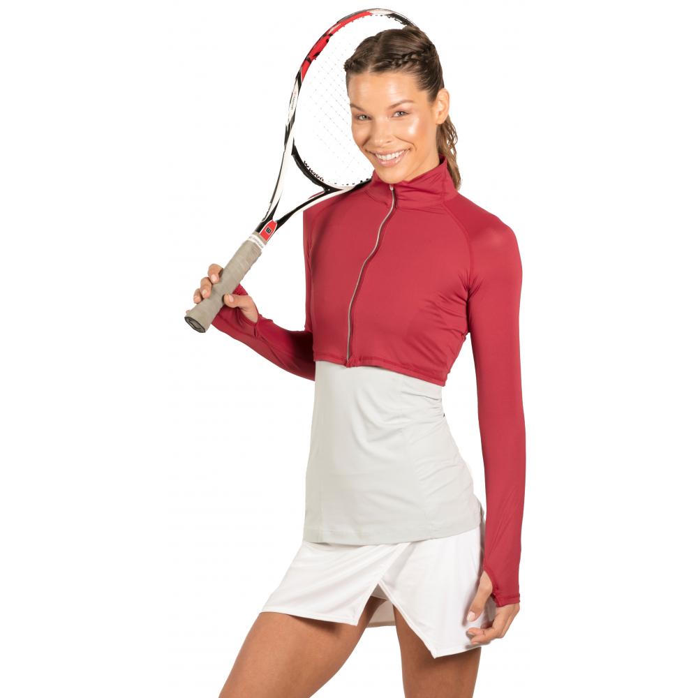 Bloq-UV Long Sleeve Full Zip Crop Top (Red Wine)