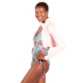 Bloq-UV Long Sleeve Full Zip Crop Top (Tickle Me Pink)