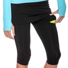 Bloq-UV Compression Capri Skort with Ball Pocket (Black) - Bloq-UV Women's Skirts & Skorts