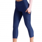BloqUV Women's Compression Capri Tennis Tights with Pockets (Navy) -