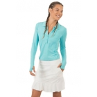 BloqUV Women's Sun Protective Collared Long Sleeve Athletic Top (Light Turquoise) - Women's Long-Sleeve Shirts