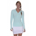 BloqUV Women's Sun Protective Collared Long Sleeve Athletic Top (Mint) - Women's Long-Sleeve Shirts