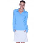 BloqUV Women's Sun Protective Collared Long Sleeve Athletic Top (Ocean Blue) - Women's Long-Sleeve Shirts