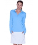 BloqUV Women's Sun Protective Collared Long Sleeve Athletic Top (Ocean Blue) - BloqUV Women's Long Sleeve Sun Protective Crop Tops