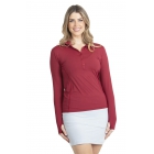 BloqUV Women's Sun Protective Collared Long Sleeve Athletic Top (Red Wine) - Women's Long-Sleeve Shirts