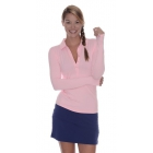 BloqUV Women's Sun Protective Collared Long Sleeve Athletic Top (Tickle Me Pink) - Women's Long-Sleeve Shirts