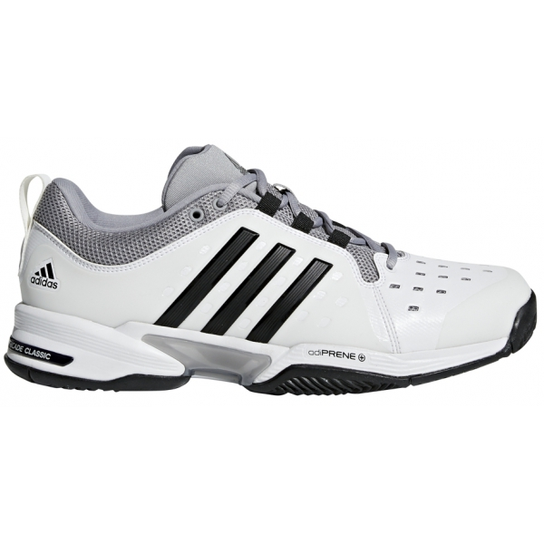 Adidas Men's Barricade Classic Bounce Wide (4E) Tennis Shoes (White/Black)