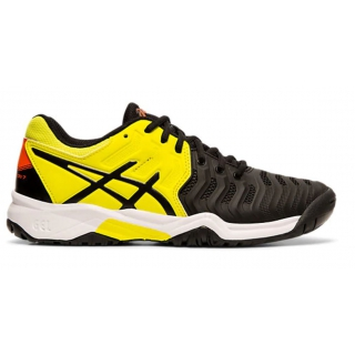 Asics Junior Gel Resolution 7 GS Tennis Shoes (Black/Sour Yuzu)