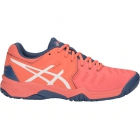Asics Junior Gel Resolution 7 GS Tennis Shoes (Papaya/White) - Asics Junior Tennis Shoes